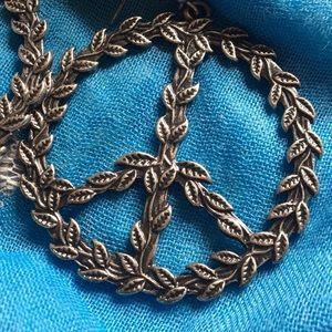 Peace Sign of leaves earrings hippy boho jewelry